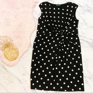 Ralph Lauren Polkadot Sleeveless Knotted Dress 20W